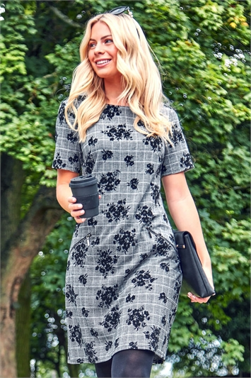 Floral Check Tunic Dress