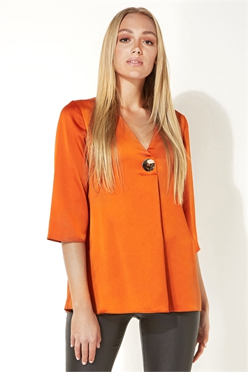 Button 3/4 Sleeve Oversized Top