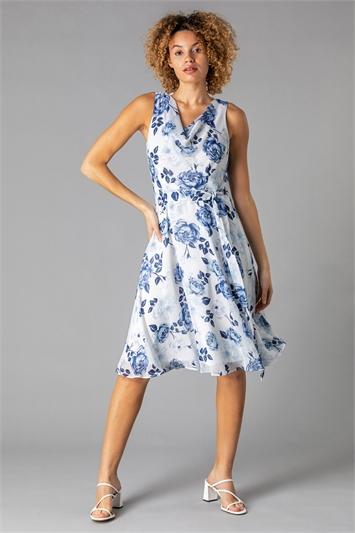 Floral Cowl Neck Fit & Flare Dress