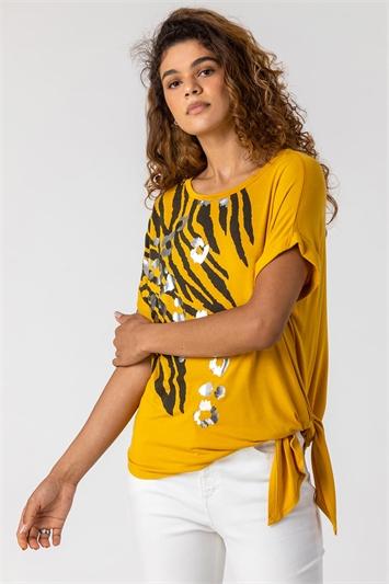 Ochre Animal Print Foil T Shirt