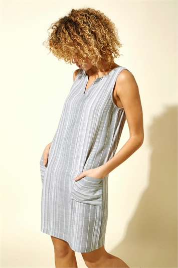 Linen Stripe Print Dress
