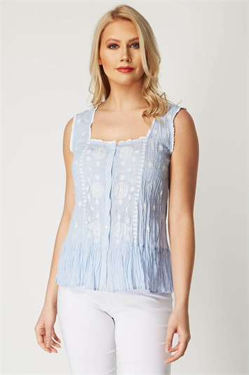 Stripe Embroidered Crinkle Blouse