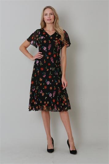 Orange Julianna Ditsy Floral Print Dress