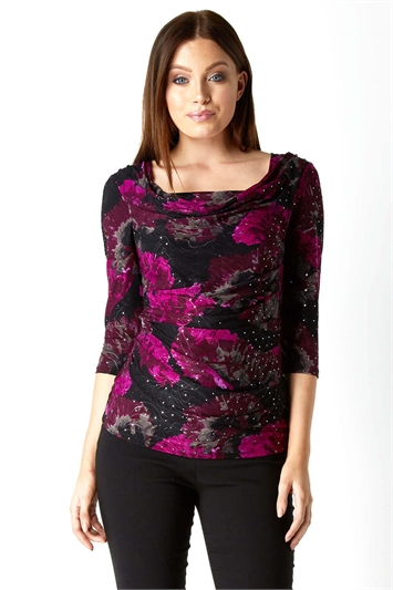 Floral Sequin Cowl Neck Top