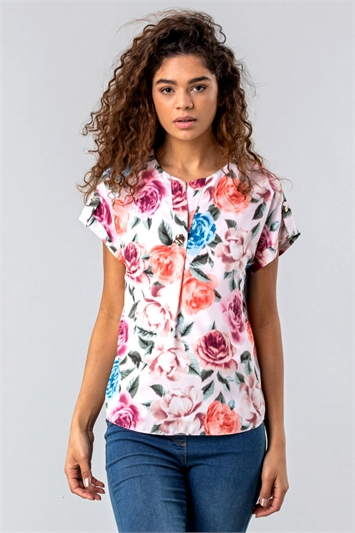 Button Neck Floral Print Top