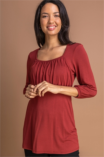 Rust Gathered Front Detail Top