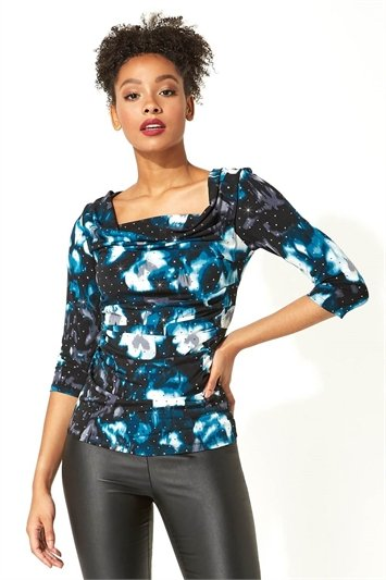 Sequin Embellished Cowl Neck Top