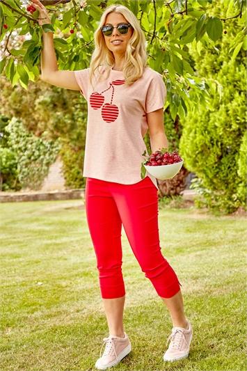 Textured Cherry Print Jersey T-Shirt