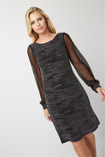 Chiffon Sleeve Shimmer Dress