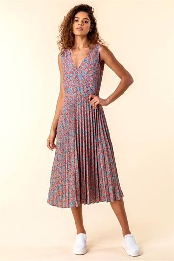 Floral Print Midi Wrap Dress