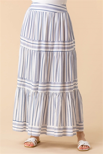Tiered Stripe Print Maxi Skirt