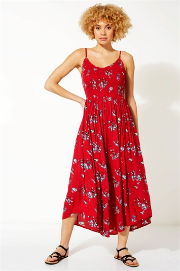 Strappy Shirred Floral Midi Dress