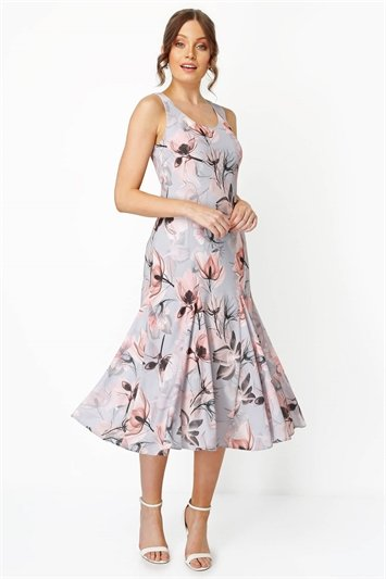 Floral Bias Cut Fluted Hem Godet Midi Dress