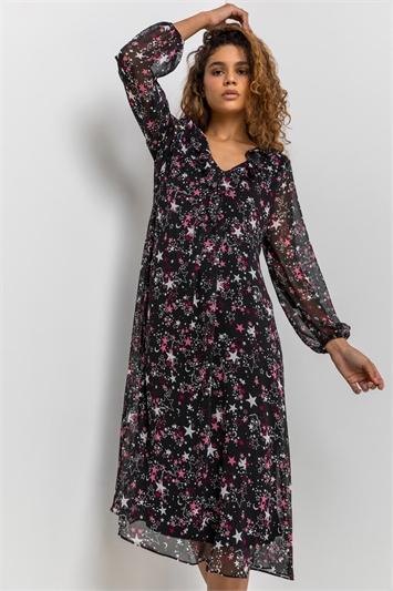 Black Star Print Chiffon Midi Dress, Image 1 of 5