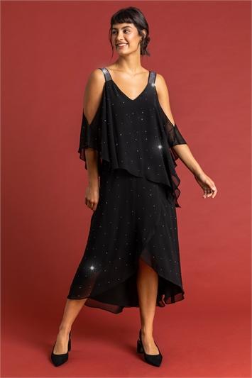 Black Diamante Embellished Chiffon Dress