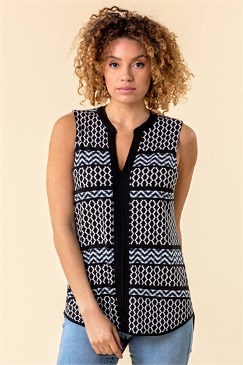 Geometric Stripe Print Vest Top