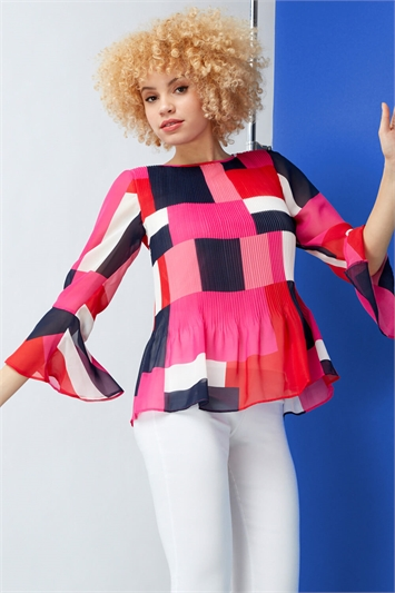 Colour Block Fluted Sleeve Pleated Top