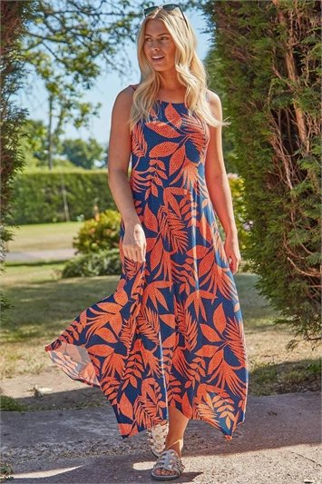 Tropical Hanky Hem Midi Dress