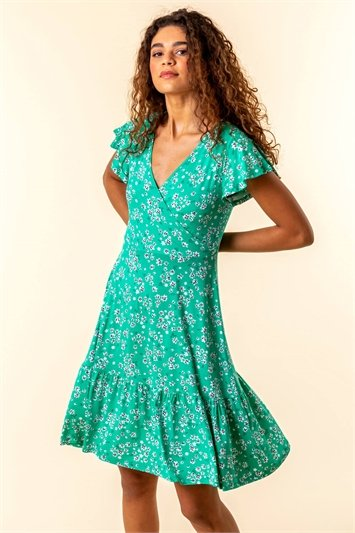Floral Print Wrap Tea Dress