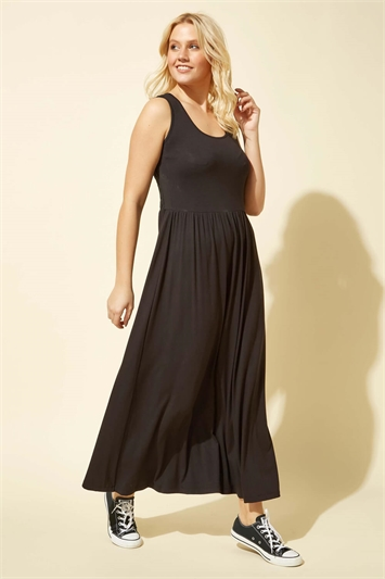 Crochet Back Jersey Maxi Dress