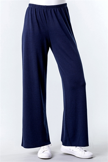 Navy Wide Leg Lounge Trousers