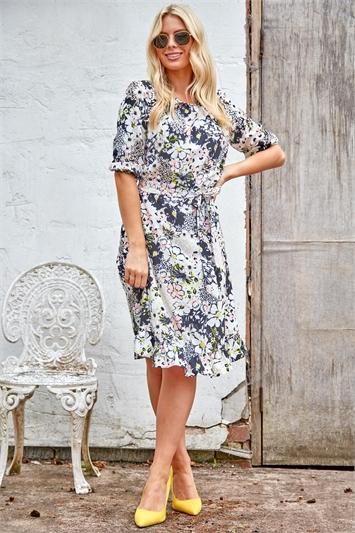 Floral Mixed Print Frill Hem Tea Dress