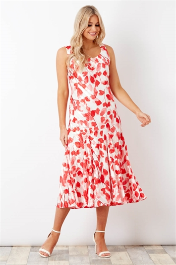 Poppy Print Bias Cut Midi Dress