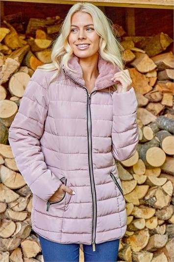 Light Pink Short Zip Through Padded Coat