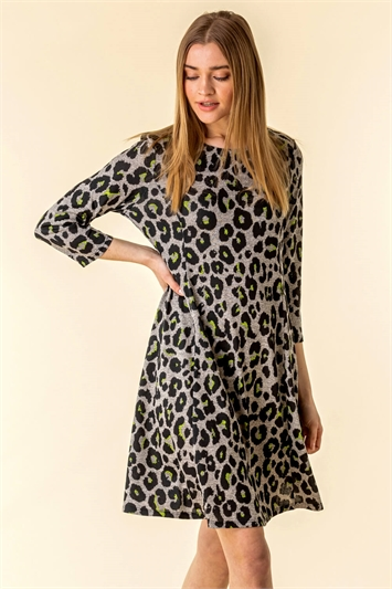 Contrast Animal Print Dress