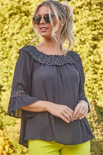 Lace Trim Bardot Top