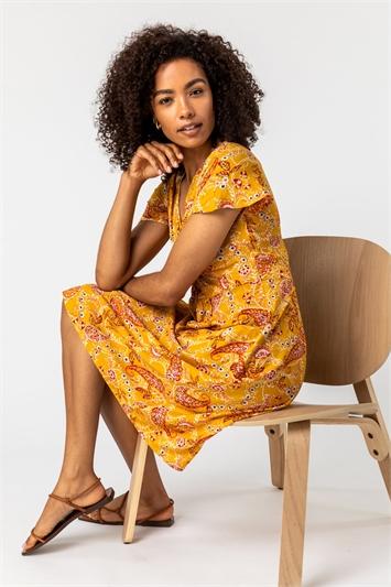 Yellow Paisley Print Twist Knot Dress