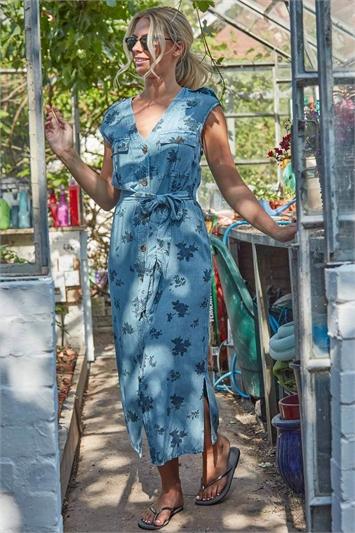 Floral Print Utility Midi Dress