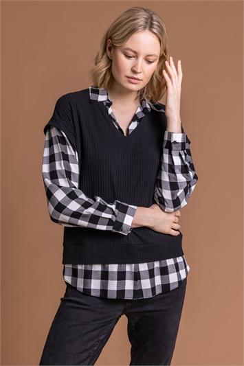 Black Check Print Sweater Vest Top, Image 1 of 5