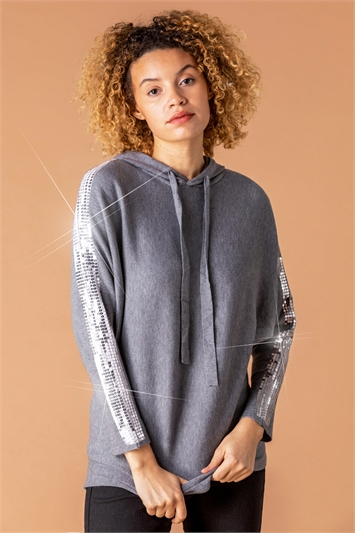 Sequin Embellished Knitted Hoodie