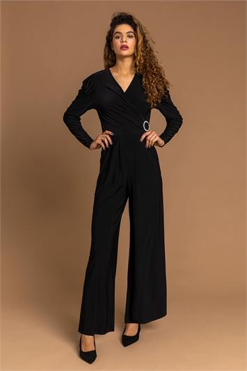 Black Buckle Detail Wrap Jumpsuit