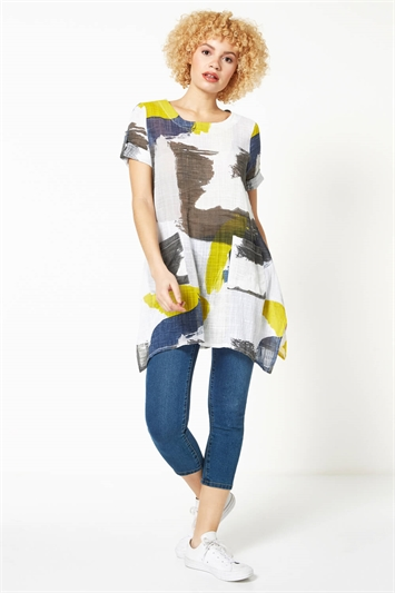 Colour Block Longline Crinkle Tunic Top