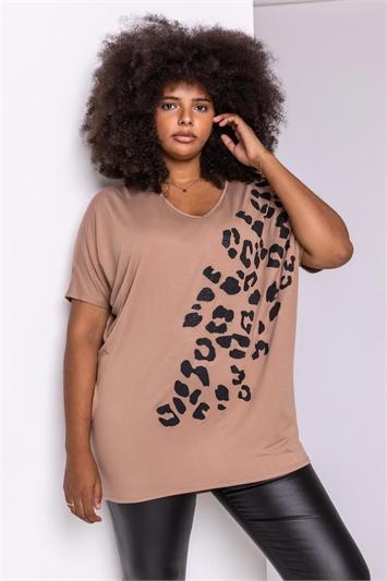 Camel Curve Embellished Animal Print T-Shirt