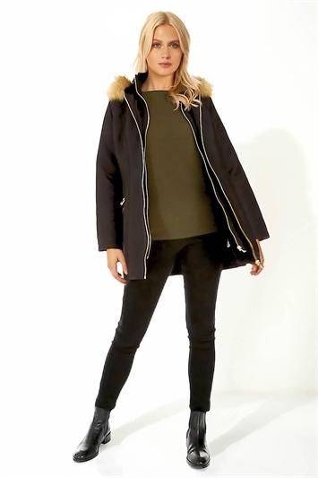 Luxury Faux Fur Trim Parka Coat