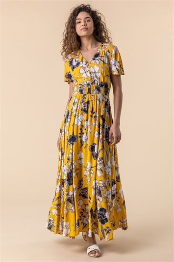 Floral Print Shirred Waist Maxi Dress
