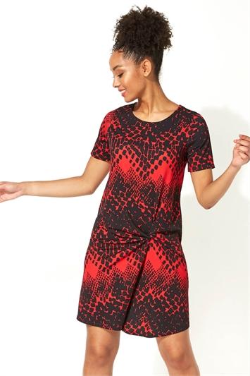 Abstract Print Side Twist Shift Dress
