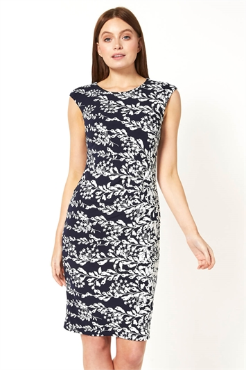 Floral Print Ruched Waist Dress