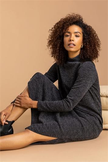Dark Grey Ribbed Knit Midi Dress, Image 1 of 5