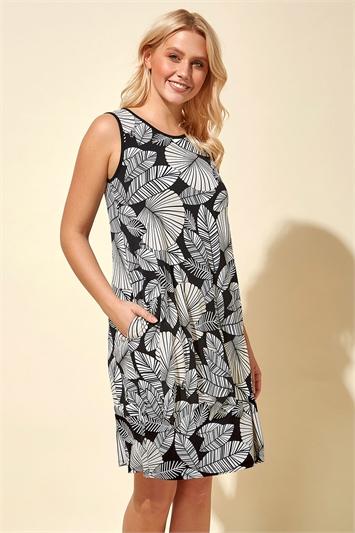 Leaf Print Pocket Dress