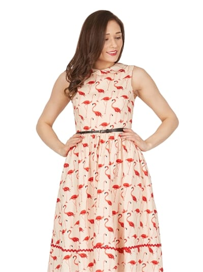 Sammy Flamingo Print Swing Dress