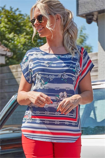 Rope Stripe Floral Print T-Shirt