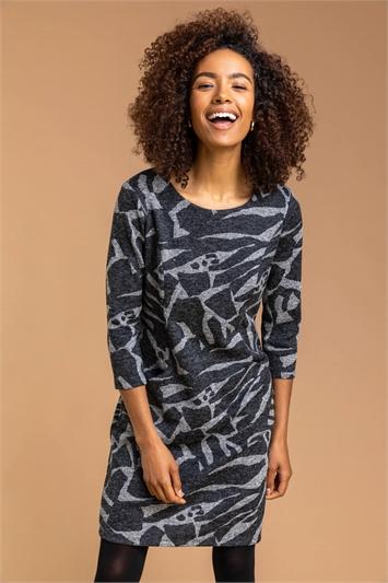 Dark Grey Abstract Animal Print Shift Dress