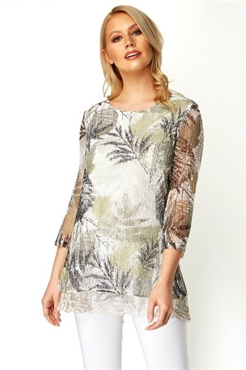Lace Trim Overlay Leaf Print Top