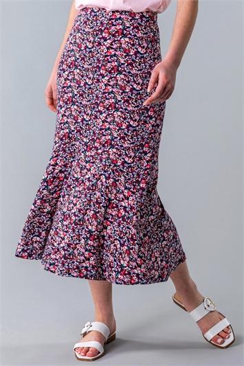 Ditsy Floral Flute Hem Skirt