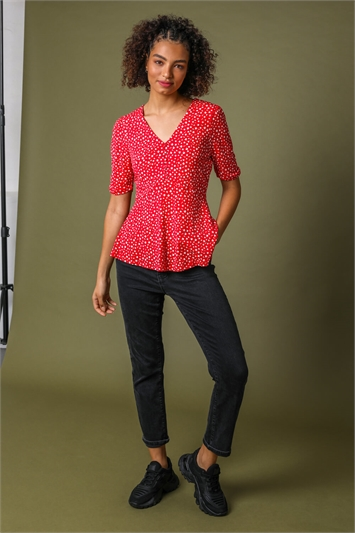 Red Ditsy Floral Print V-Neck Top, Image 1 of 5