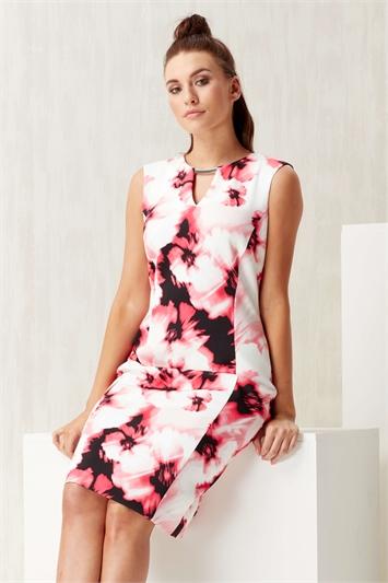 Keyhole Floral Scuba Print Dress